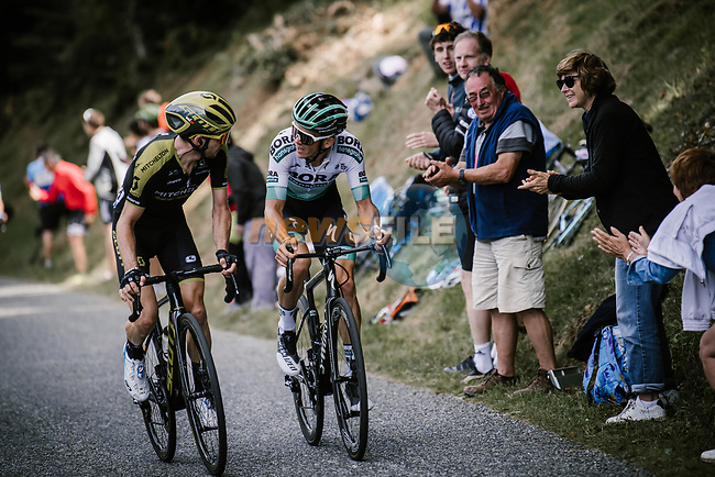 Simon Yates (GBR) Mitchelton-Scott and Gregor Mühlberger (Aut) Bora-Hansgrohe attacking on Horquette d'Ancizan during Stage 12 of the 2019 Tour de France running 209.5km from Toulouse to Bagneres-de-Bigorre, France. 18th July 2019.<br /> Picture: ASO/Pauline Ballet   Cyclefile<br /> All photos usage must carry mandatory copyright credit (© Cyclefile   ASO/Pauline Ballet)