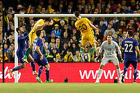 June 7, 2016: TIM CAHILL (4) of Australia heads the ball during an international friendly match between the Australian Socceroos and Greece at Etihad Stadium, Melbourne. Photo Sydney Low