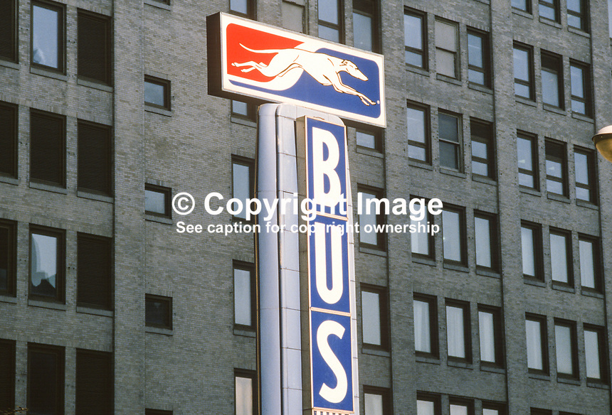 The famous Greyhound bus company logo on a building in Norfolk, Virginia, USA, 19880504GL..Copyright Image from Victor Patterson, 54 Dorchester Park, Belfast, UK, BT9 6RJ..Tel: +44 28 9066 1296.Mob: +44 7802 353836.Voicemail +44 20 8816 7153.Skype: victorpattersonbelfast.Email: victorpatterson@me.com.Email: victorpatterson@ireland.com (back-up)..IMPORTANT: If you wish to use this image or any other of my images please go to www.victorpatterson.com and click on the Terms & Conditions. Then contact me by email or phone with the reference number(s) of the image(s) concerned.
