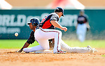 8 March 2011: New York Yankees' infielder Eduardo Nunez steals second during a Spring Training game against the Atlanta Braves at Champion Park in Orlando, Florida. The Yankees edged out the Braves 5-4 in Grapefruit League action. Mandatory Credit: Ed Wolfstein Photo