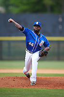 Biloxi Shuckers pitcher Wirfin Obispo (46) delivers a pitch during a game against the Birmingham Barons on May 24, 2015 at Joe Davis Stadium in Huntsville, Alabama.  Birmingham defeated Biloxi 6-4 as the Shuckers are playing all games on the road, or neutral sites like their former home in Huntsville, until the teams new stadium is completed in early June.  (Mike Janes/Four Seam Images)