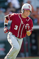 Oklahoma Sooners outfielder Craig Aikin #3 runs to first base against the Texas Longhorns in the NCAA baseball game on April 6, 2013 at UFCU DischFalk Field in Austin, Texas. The Longhorns defeated the rival Sooners 1-0. (Andrew Woolley/Four Seam Images).