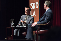 Occidental College hosts 3rd LA City on the Verge: Mayor Eric Garcetti and Christopher Hawthorne in Conversation, in Thorne Hall on the campus of Occidental College in Eagle Rock, March 22, 2017.<br /> Now in his second term, Mayor Eric Garcetti, is a former adjunct assistant professor of diplomacy and world affairs at Occidental. Garcetti and Hawthorne cover topics including the re-imagining of the Los Angeles River; the expansion of the region's transit network under newly approved Measure M; debates over growth and real-estate development; and L.A.'s relationship with Washington, D.C. and the Trump administration.<br /> (Photo by Marc Campos, Occidental College Photographer)