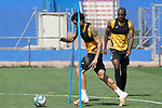 Getafe's Allan Nyom (r) and Xavier Etxeita during training session. May 25,2020.(ALTERPHOTOS/Acero)