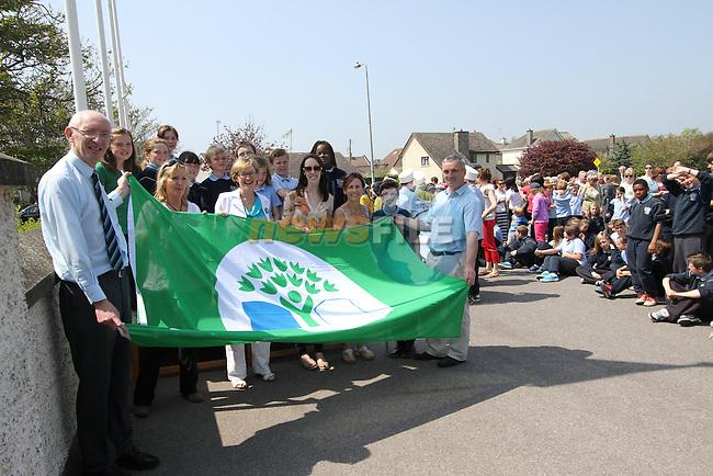 Raising of the Green Flag at Scoil Spioraid Naomh..(Photo Jenny Matthews/www.newsfile.ie)