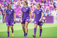 Orlando, FL - Saturday April 22, 2017: Marta, Laura Alleway, Maddy Evans during a regular season National Women's Soccer League (NWSL) match between the Orlando Pride and the Washington Spirit at Orlando City Stadium.