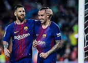 4th November 2017, Camp Nou, Barcelona, Spain; La Liga football, Barcelona versus Sevilla; Leo Messi (left) and Paco Alcacer (right) celebrating their goal