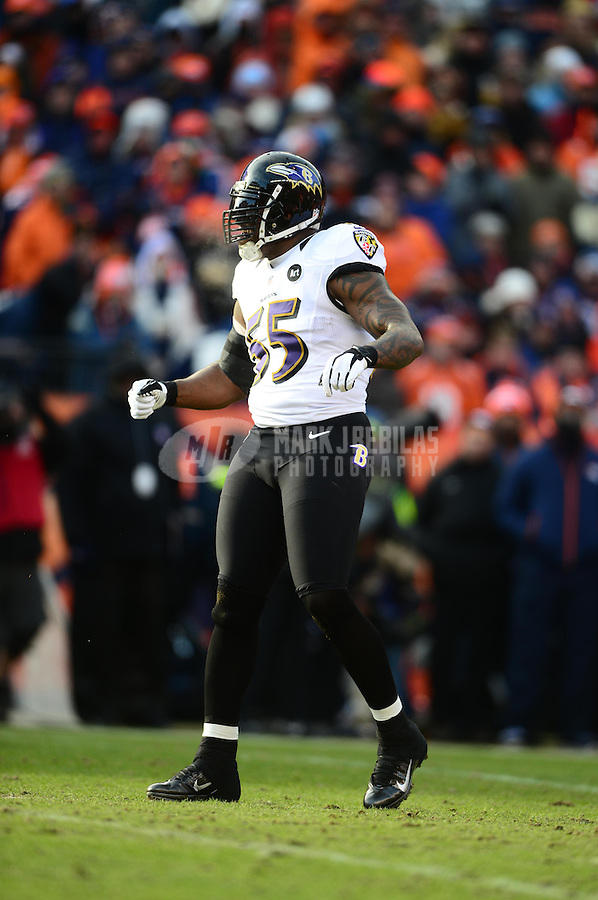 Jan 12, 2013; Denver, CO, USA; Baltimore Ravens linebacker Terrell Suggs (55) against the Denver Broncos during the AFC divisional round playoff game at Sports Authority Field.  Mandatory Credit: Mark J. Rebilas-