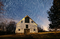 Star trails over the Ivy Creek natural area barn in Albemarle County, Va. Photo/Andrew Shurtleff Photography, LLC