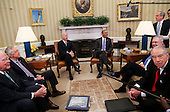 """United States President Barack Obama meets with the bipartisan leaders of the US Senate and the bipartisan leaders of the US Senate Judiciary Committee to talk about the Supreme Court vacancy left by the death of Associate Justice Antonin Scalia, in the Oval Office of the White House.  From left to right: US Senator Patrick Leahy (Democrat of Vermont), Ranking Member, US Senate Judiciary Committee; US Senate Minority Leader Harry Reid (Democrat of Nevada); US Vice President Joe Biden; the President; US Senate Majority Leader Mitch McConnell (Republican of Kentucky); and US Senator Chuck Grassley (Republican of Iowa), Chairman, US Senate Judiciary Committee. In what was described as a """"very short"""" meeting, the Republicans advised Obama there would be no hearings and no vote on any nominee he submits to replace Scalia.<br /> Credit: Aude Guerrucci / Pool via CNP"""