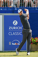 Justin Rose (GBR) watches his tee shot on 1 during Round 3 of the Zurich Classic of New Orl, TPC Louisiana, Avondale, Louisiana, USA. 4/28/2018.<br /> Picture: Golffile | Ken Murray<br /> <br /> <br /> All photo usage must carry mandatory copyright credit (&copy; Golffile | Ken Murray)