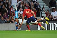 Anthony Watson of England scores the opening try - 15/08/2015 - Twickenham Stadium - London <br /> Mandatory Credit: Rob Munro/Stewart Communications