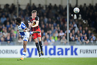 Blackburn Rovers' Darragh Lenihan is fouled by Bristol Rovers' Ellis Harrison<br /> <br /> Photographer Ashley Crowden/CameraSport<br /> <br /> The EFL Sky Bet League One - Bristol Rovers v Blackburn Rovers - Saturday 14th April 2018 - Memorial Stadium - Bristol<br /> <br /> World Copyright &copy; 2018 CameraSport. All rights reserved. 43 Linden Ave. Countesthorpe. Leicester. England. LE8 5PG - Tel: +44 (0) 116 277 4147 - admin@camerasport.com - www.camerasport.com