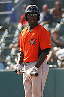 Xavier Avery #32 of the Frederick Keys on deck during a game against the Myrtle Beach Pelicans on May 2, 2010 in Myrtle Beach, SC.