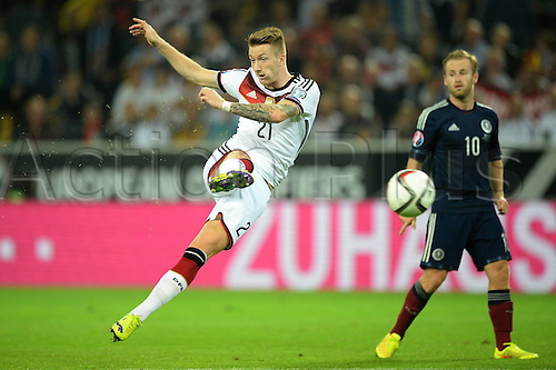 07.09.2014. Dortmund, Germany.   international match Germany Scotland  in Signal Iduna Park in Dortmund. Marco Reus (Ger) get hsi shot away on the goal for Germany