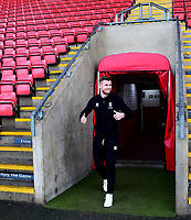 Lincoln City's Michael O'Connor arrives at the ground<br /> <br /> Photographer Andrew Vaughan/CameraSport<br /> <br /> The EFL Sky Bet League Two - Crewe Alexandra v Lincoln City - Wednesday 26th December 2018 - Alexandra Stadium - Crewe<br /> <br /> World Copyright &copy; 2018 CameraSport. All rights reserved. 43 Linden Ave. Countesthorpe. Leicester. England. LE8 5PG - Tel: +44 (0) 116 277 4147 - admin@camerasport.com - www.camerasport.com