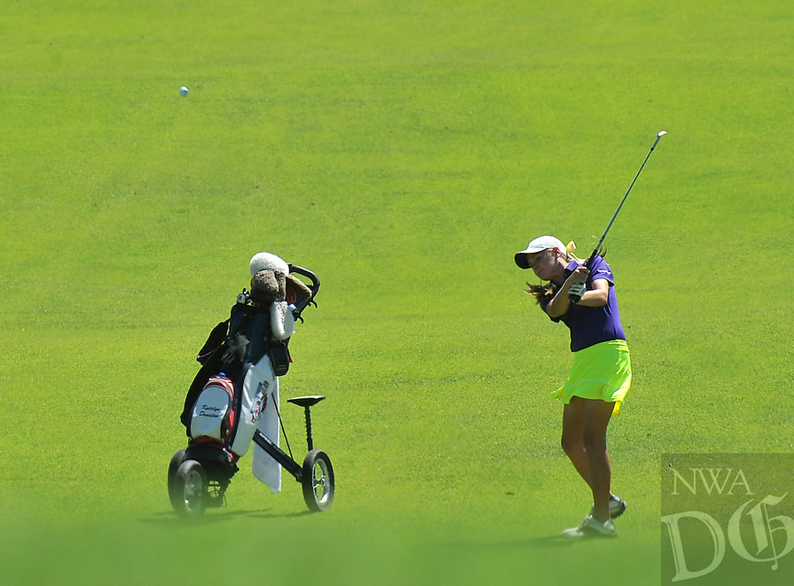 NWA Media/Michael Woods --06/24/2014-- w @NWAMICHAELW...Katelyn Dunstan from Little Rock takes a shot from the fairway Tuesday morning during the last round of the ASGA Stroke Play tournament at Shadow Valley Country Club in Rogers.