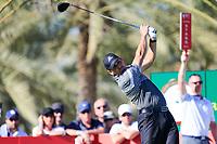 Sergio Garcia (ESP) on the 14th tee during the 2nd round of the Abu Dhabi HSBC Championship, Abu Dhabi Golf Club, Abu Dhabi,  United Arab Emirates. 17/01/2020<br /> Picture: Fran Caffrey   Golffile<br /> <br /> <br /> All photo usage must carry mandatory copyright credit (© Golffile   Fran Caffrey)