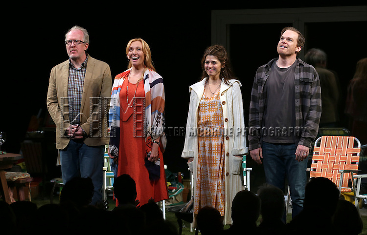 Tracy Letts, Toni Collette, Marisa Tomei and Michael C. Hall during the Broadway Opening Night Performance Curtain Call for 'The Realistic Joneses'  at the Lyceum Theatre on April 6, 2014 in New York City.
