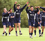 Marco Negri at the back following Daniel Prodan and Michael Mols at training