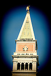 Detail of the top of St Mark Campanile, Venice, Italy