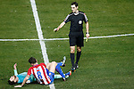 Atletico de Madrid's Saul Niguez (c) and FC Barcelona's Leo Messi (l) in presence of Spanish referee Ricardo de Burgos Bengoetxea during Spanish Kings Cup semifinal 1st leg match. February 01,2017. (ALTERPHOTOS/Acero)