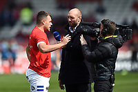 Zach Mercer of Bath Rugby is interviewed by BT Sport during the pre-match warm-up. Gallagher Premiership match, between Gloucester Rugby and Bath Rugby on April 13, 2019 at Kingsholm Stadium in Gloucester, England. Photo by: Patrick Khachfe / Onside Images