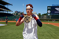 Austin Hendrick during the home run derby before the Under Armour All-America Game, powered by Baseball Factory, on July 22, 2019 at Wrigley Field in Chicago, Illinois.  Austin Hendrick attends West Allegheny High School in Oakdale, Pennsylvania and is committed to Mississippi State University.  (Mike Janes/Four Seam Images)