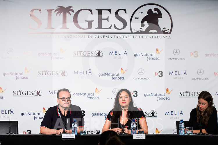 "Jordi Sanchez Navarro and the director of the film, Anna Biller during the press conference of the presentation of the film ""The Love Witch"" at the Festival de Cine Fantastico de Sitges in Barcelona. October 08, Spain. 2016. (ALTERPHOTOS/BorjaB.Hojas)"