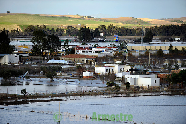 An agricultural field is seen flooded in Las Pachecas, near Jerez de la Frontera in Cadiz is pictured after it was closed on january 05, 2010 for the heavy rain. (c)Pedro ARMESTRE