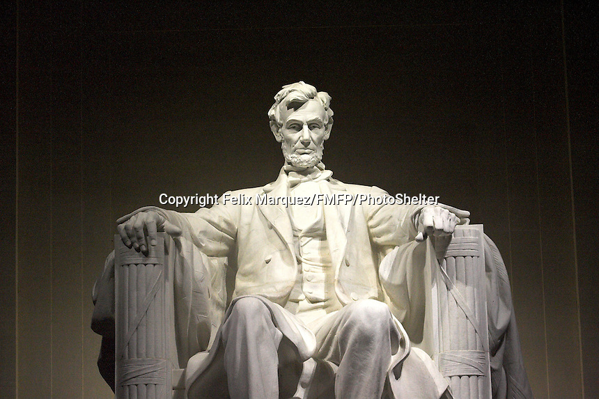 The Lincoln Memorial in D.C. with a much bigger than life statue of Abraham Lincoln