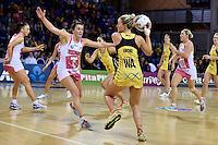 Pulse's Chelsea Locke and Thunderbirds' Madeleine Proud in action during the ANZ Championship - Central Pulse v Adelaide Thunderbirds at Te Rauparaha Arena, Porirua, New Zealand on Sunday 12 June 2016. <br /> Photo by Masanori Udagawa. <br /> www.photowellington.photoshelter.com.