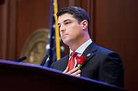 TALLAHASSEE, FLA. 3/3/15-Speaker of the House Steve Crisafulli, R-Merritt Island, pauses during the recognition of the Navy Reserve color guard open at the start of the 2015 Legislative Session, Tuesday at the Capitol in Tallahassee.<br /> <br /> COLIN HACKLEY PHOTO