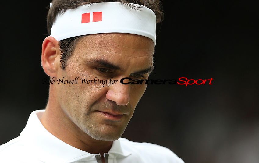 Roger Federer (SUI) during his match against Kei Nishikori (JPN) in their Gentleman's Singles Quarter Final match<br /> <br /> <br /> Photographer Rob Newell/CameraSport<br /> <br /> Wimbledon Lawn Tennis Championships - Day 9 - Wednesday 10th July 2019 -  All England Lawn Tennis and Croquet Club - Wimbledon - London - England<br /> <br /> World Copyright © 2019 CameraSport. All rights reserved. 43 Linden Ave. Countesthorpe. Leicester. England. LE8 5PG - Tel: +44 (0) 116 277 4147 - admin@camerasport.com - www.camerasport.com