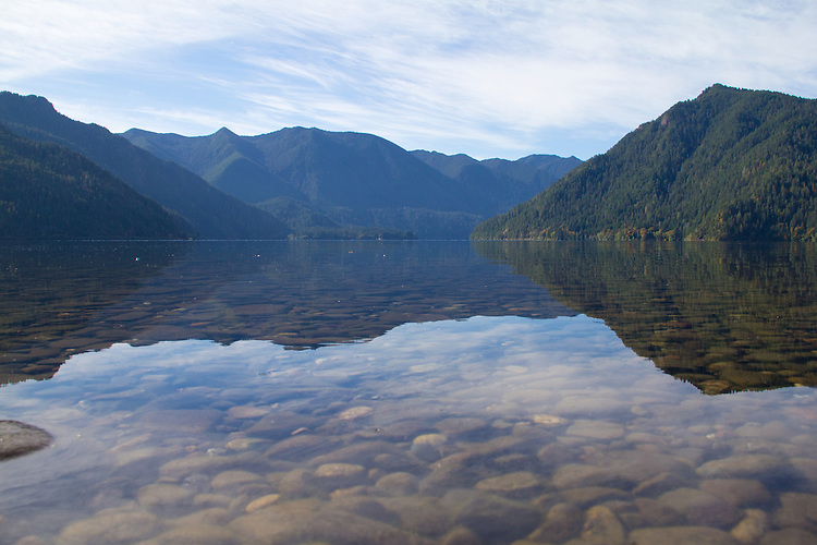 Lake Crescent, Olympic National Park, East Beach Road, still water, man with