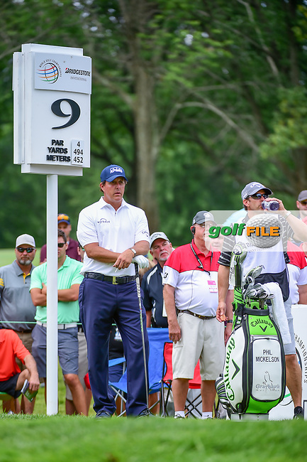 Phil Mickelson (USA) and his caddie, brother Tim look over the tee shot on 9 during Sunday's final round of the World Golf Championships - Bridgestone Invitational, at the Firestone Country Club, Akron, Ohio. 8/6/2017.<br /> Picture: Golffile | Ken Murray<br /> <br /> <br /> All photo usage must carry mandatory copyright credit (&copy; Golffile | Ken Murray)