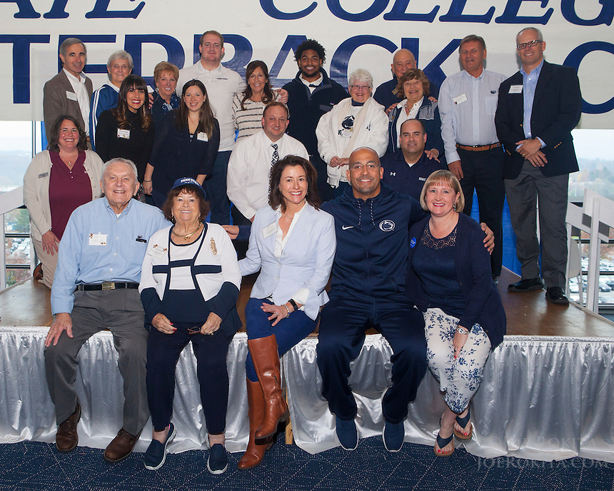 State College, PA - 11/16/2016:  Week #11 State College Quarterback Club luncheon at Mount Nittany Club at Beaver Stadium in University Park, PA.<br /> <br /> This week's opponent: Rutgers<br /> <br /> Players: Andre Robinson, Tom Devenney<br /> <br /> Coach: James Franklin<br /> <br /> No Sponsor, photo of luncheon volunteers<br /> <br /> Photos by Joe Rokita / JoeRokita.com