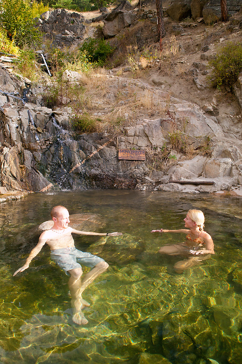 """Skinnydipper, a popular hot spring outside Boise, just after sunrise.  Scenery and a warm soak reward anyone wanting to enjoy the """"party pool"""" (pictured here) the lowest and largest of all three hot springs."""