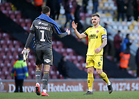 Fleetwood Town's Ashley Eastham embraces Bradford City's Richard O'Donnell at the final whistle<br /> <br /> Photographer David Shipman/CameraSport<br /> <br /> The EFL Sky Bet League One - Bradford City v Fleetwood Town - Saturday 9th February 2019 - Valley Parade - Bradford<br /> <br /> World Copyright &copy; 2019 CameraSport. All rights reserved. 43 Linden Ave. Countesthorpe. Leicester. England. LE8 5PG - Tel: +44 (0) 116 277 4147 - admin@camerasport.com - www.camerasport.com
