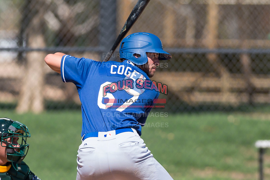 Los Angeles Dodgers outfielder Matt Cogen (67) at bat during an Instructional League game against the Oakland Athletics at Camelback Ranch on September 27, 2018 in Glendale, Arizona. (Zachary Lucy/Four Seam Images)