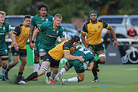 Ben West of Ealing Trailfinders tackles Ben Meehan of London Irish during the Greene King IPA Championship match between Ealing Trailfinders and London Irish Rugby Football Club  at Castle Bar, West Ealing, England  on 1 September 2018. Photo by David Horn.