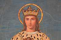 Detail of the head of Saint Louis with a halo and wearing a sequinned crown, from a processional banner in the Collegiale Notre-Dame de Poissy, a catholic parish church founded c. 1016 by Robert the Pious and rebuilt 1130-60 in late Romanesque and early Gothic styles, in Poissy, Yvelines, France. Saint Louis or King Louis IX of France was born in Poissy in 1214. The Collegiate Church of Our Lady of Poissy was listed as a Historic Monument in 1840. Picture by Manuel Cohen