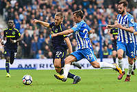 Nikola Vlasic of Everton (27) and Markus Suttner of Brighton & Hove Albion (29)  challenge for the ball during the Premier League match between Brighton and Hove Albion and Everton at the American Express Community Stadium, Brighton and Hove, England on 15 October 2017. Photo by Edward Thomas / PRiME Media Images.
