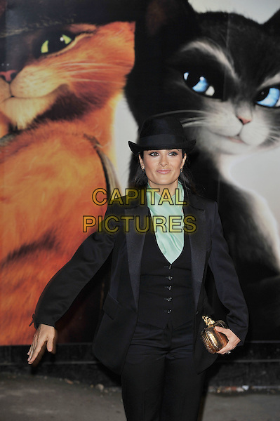 Salma Hayek.'Puss In Boots' UK film premiere, Empire cinema, Leicester Square, London, England, UK, 24th November 2011..half length black suit green scarf hat trilby gold clutch bag waistcoat jacket .CAP/MAR.©Martin Harris/Capital Pictures.