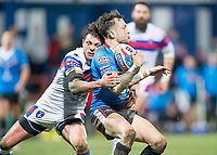 Picture by Allan McKenzie/SWpix.com - 09/02/2018 - Rugby League - Betfred Super League - Wakefield Trinity v Salford Red Devils - The Mobile Rocket Stadium, Wakefield, England - Gareth O'Brien is tackled by Scott Grix.