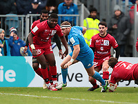 12th January 2020; RDS Arena, Dublin, Leinster, Ireland; Heineken Champions Champions Cup Rugby, Leinster versus Lyon Olympique Universitaire; Sean Cronin (Leinster) breaks through to score a try - Editorial Use