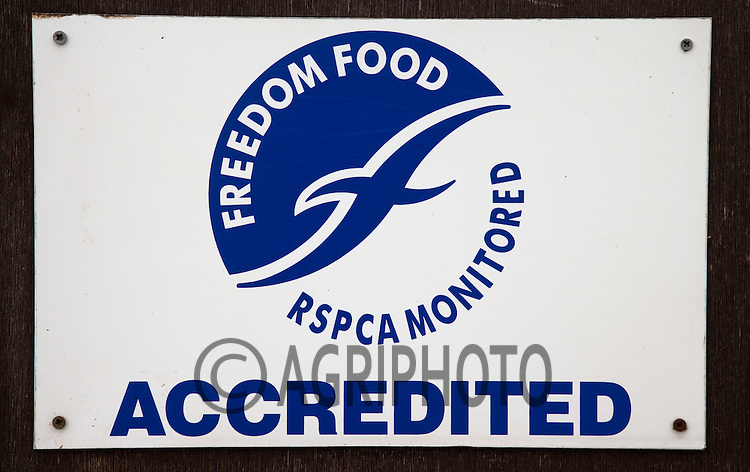 RSPCA  Freedom Food Sign On A Free Range Poultry Farm