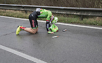 Sep Vanmarcke (BEL/Cannondale-Drapac) crashed out of the elite group that was ahead<br /> <br /> 11th Strade Bianche 2017