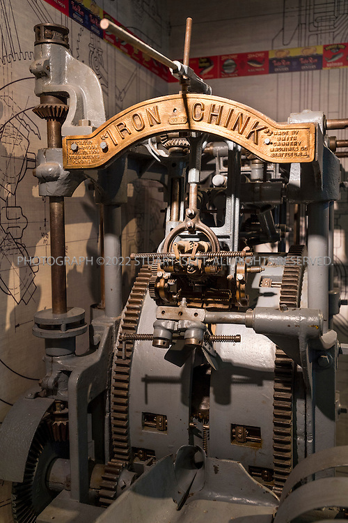 """12/27/2012--Seattle, WA, USA..The Museum of History and Industry (MOHAI) will open Dec. 29th, 2012 in the former Naval Reserve Training Center in Seattle's South Lake Union neighborhood. Here, the """"Iron Chink"""" at MOHAI. In 1903, the Iron Chink changed the production process for canned salmon. Before the Iron Chink, Chinese cannery workers manually butchered and canned salmon. This machine, however, cut the fish open, separated the fins, and cleaned out the guts. The Iron Chink drastically cut the processing time, while simultaneously taking away the jobs of Chinese workers....The Museum of History and Industry (MOHAI) will open later in 2012 in the former Naval Reserve Training Center, or """"Armory,"""" in Seattle's South Lake Union neighborhood...Accredited by the American Association of Museums, MOHAI is """"dedicated to enriching lives by preserving, sharing and teaching the diverse history of Seattle, the Puget Sound region and the nation.""""..Exhibits include Boeing B-1 seaplane (Boeing's first plane), the Rainier Brewing Company's old red """"R"""" sign and Slo-Mo-Shun IV Hydroplane. MOHAI has around 4 million objects in the collection, including around 100,000 artifacts, and 1.5 million photographs, and extensive archives. Collections focus on Seattle's early settlement (ca. 1850) through present-day, and concentrate on the stories and achievements of Seattle's residents...©2012 Stuart Isett. All rights reserved...Exhibits include Boeing B-1 seaplane (Boeing's first plane) the Rainier Brewing Company's old red """"R"""" sign, the Lincoln """"Toe Truck"""" and Slo-Mo-Shun IV Hydroplane. MOHAI has around 4 million objects in the collection, including around 100,000 artifacts, and 1.5 million photographs, and extensive archives. Collections focus on Seattle's early settlement (ca. 1850) through present-day, and concentrate on the stories and achievements of Seattle's residents...©2012 Stuart Isett. All rights reserved."""