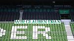 Ein Banner mit der Aufschrift ãWir glauben dranÒ haengt im leeren Weser-Stadion.<br /><br />Sport: Fussball: 1. Bundesliga:: nphgm001:  Saison 19/20: 34. Spieltag: SV Werder Bremen - 1. FC Koeln, 27.06.2020<br /><br />Foto: Marvin Ibo GŸngšr/GES/Pool/via gumzmedia/nordphoto